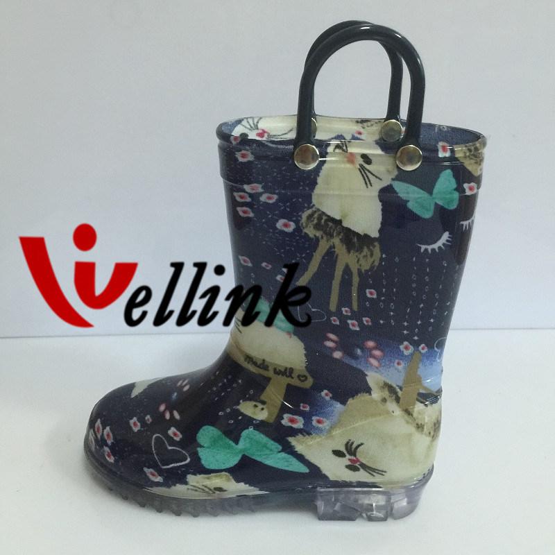 Children Fashion Style Rubber Rain Boots