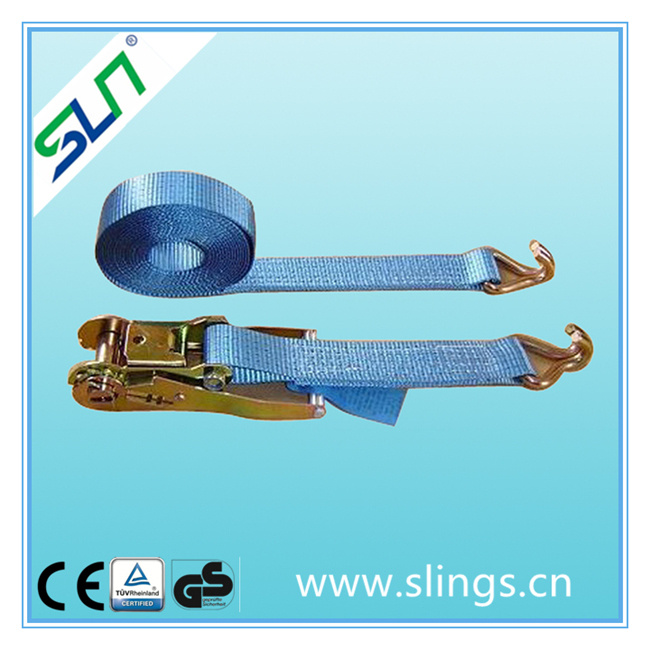 0.8t*25mm 5m Ratchet Strap with Double J Hook Sln Ce GS