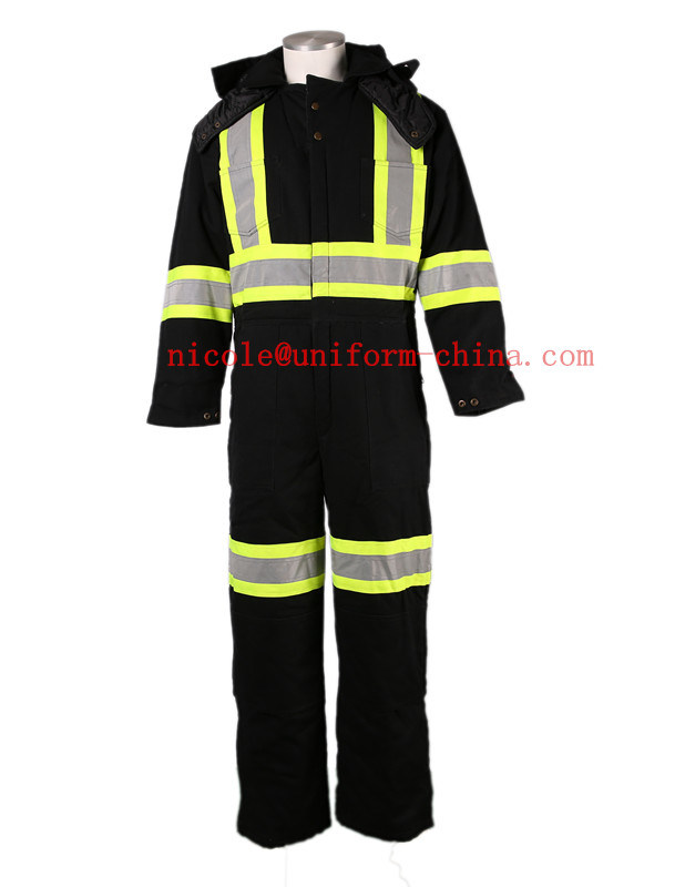 Mens Black Canvas Winter Safety Reflective Cotton Lined Workwear Coverall