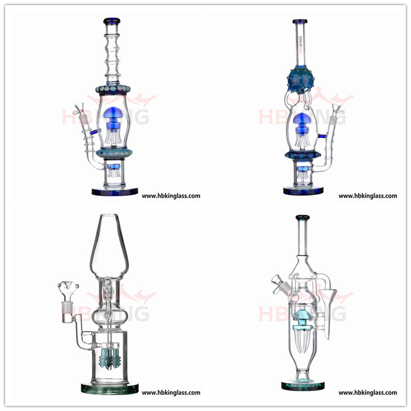 China Glass Factory Hbking New Arrival Art Glass Water Pipe, Oil DAB Rig Recycler Percolator Beaker Glass Smoking Pipe