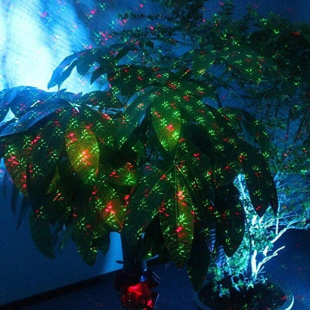 Aluminum Alloy Outdoor Laser Christmas Light Projector with IR Wireless Remote, Red and Green Star Laser Show