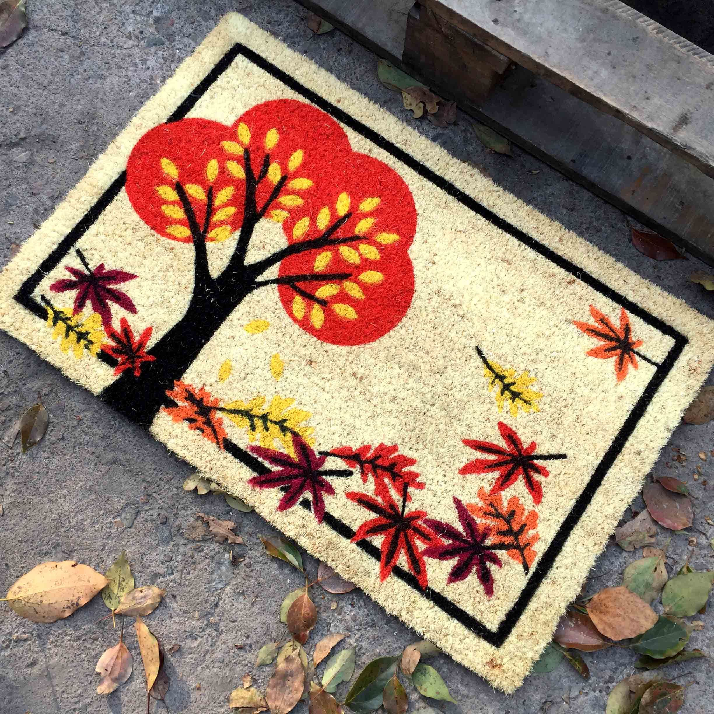 Factory Supplier Direct Beautiful Colorful Cocos Fiber Sublimation Printed Scrapper Indoor Outdoor Coir Coco Fibers Coconut Door Mats