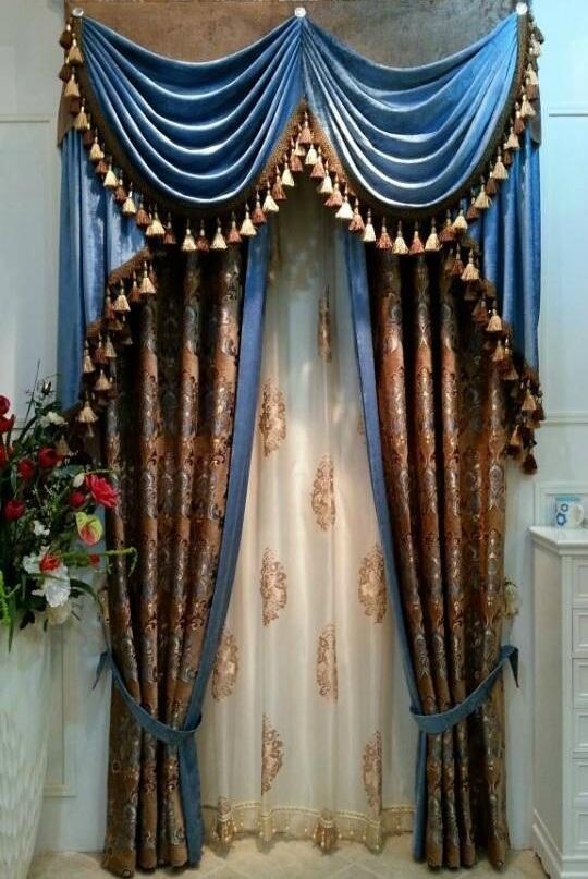 Chenille Jacquard Curtain Decoration Curtain (KS-160)