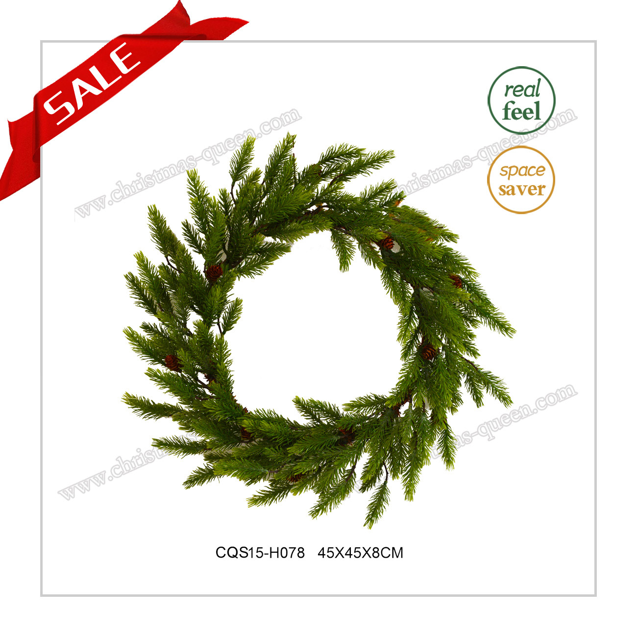 22 Inch Handmade Plastic Artificial Wreath Christmas Decoration