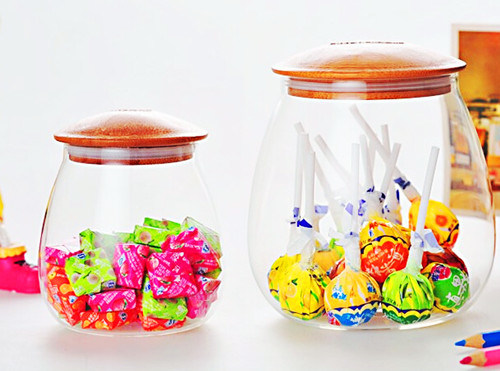 1000ml Glass Storage Jar Storage Can with Bamboo Lid