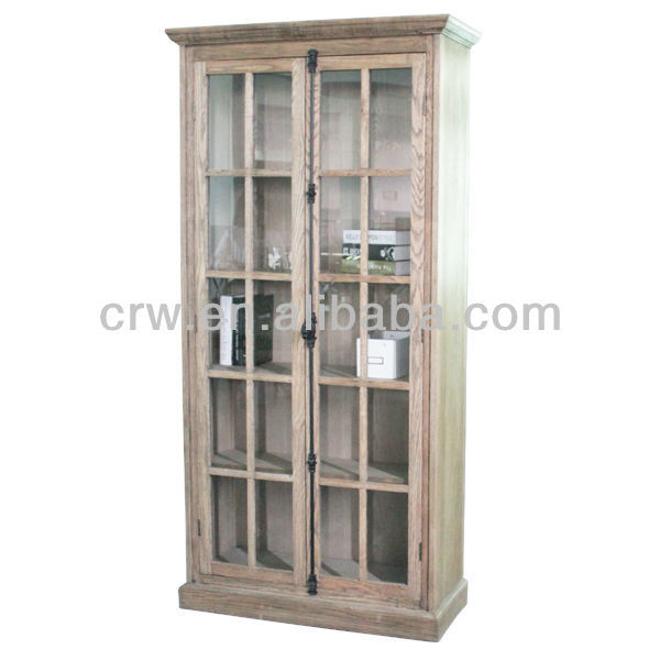 Oak Glass Furniture Antique Bookcase with Doors