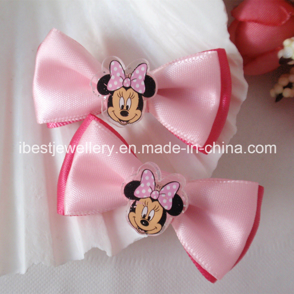 Hair Accessories for Children -Fabric Bow with Plastic Minnie Hair Pin Set H065