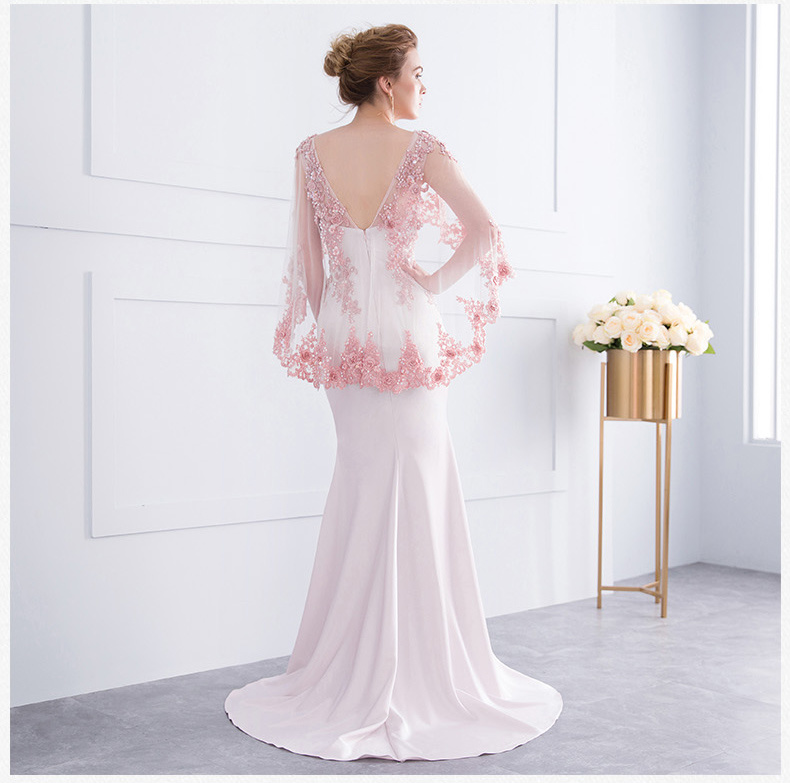 2018 Mother of The Bride Formal Gowns Pink Red Lace Shawl Evening Dresses Z7011