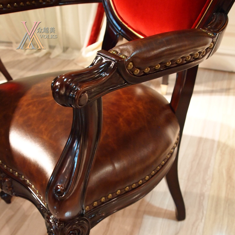 Leather and Fabric Dining Chair with Armrest (E003)