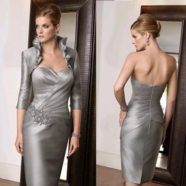 Silver Satin Knee Length Short Mother of The Bride Groom Dress (M153)