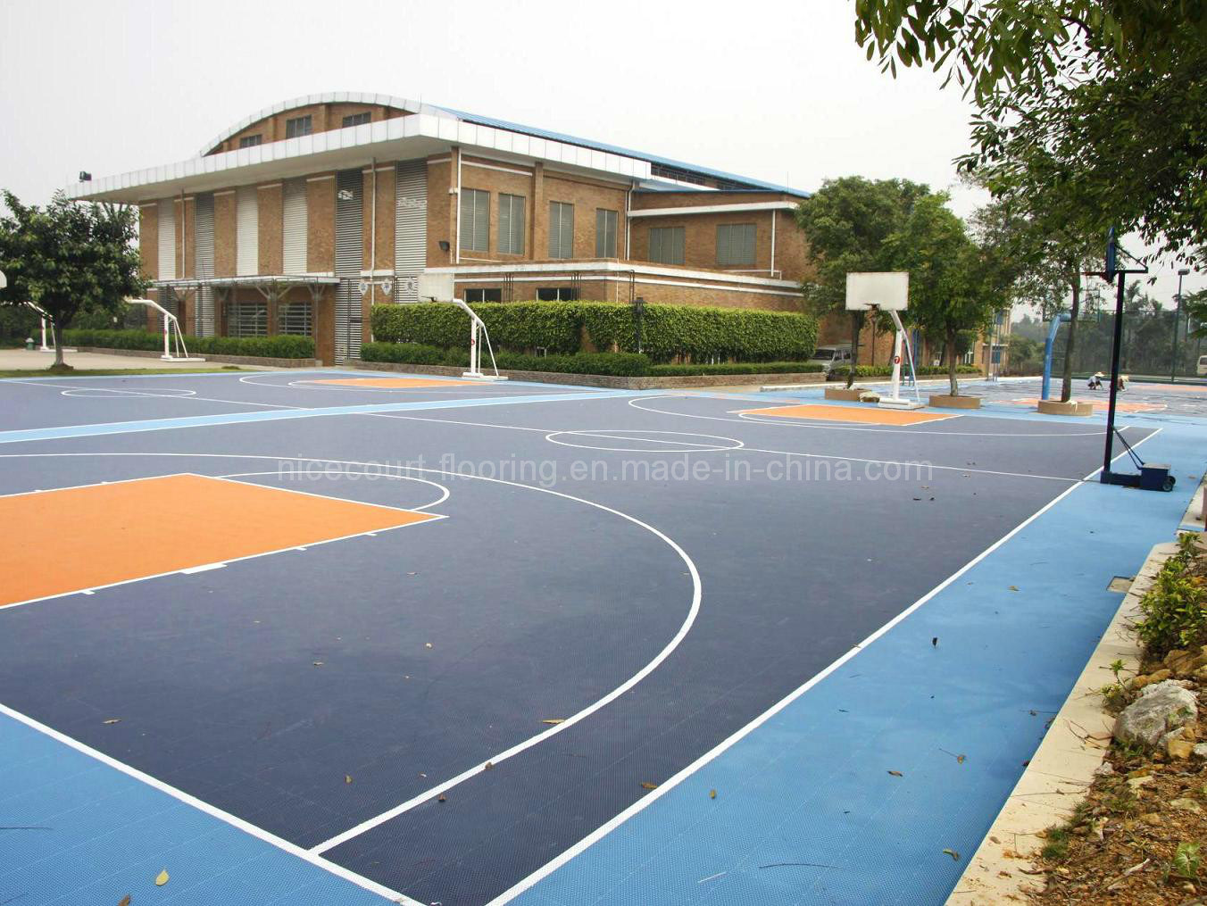 Home backyard basketball court flooring tiles quotes for Sport court pricing