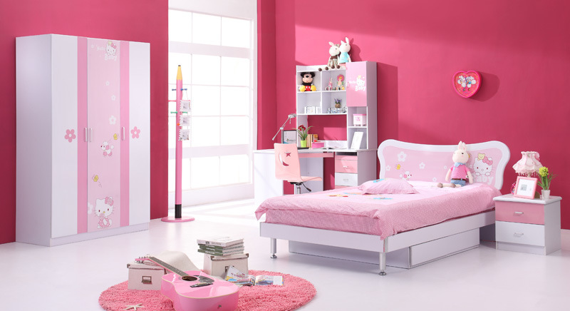 China children bedroom furniture set 6104 hello kitty for Chambre hello kitty