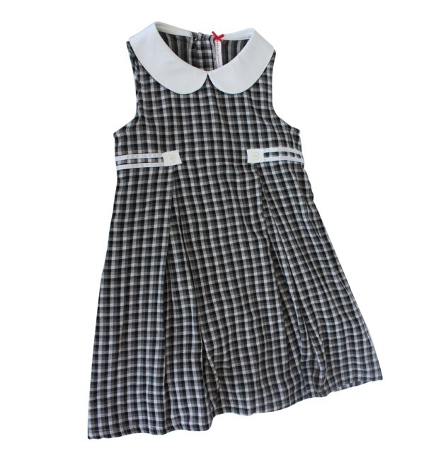 Black Checkered Girls Dress With Glitter Tulle, Black and White