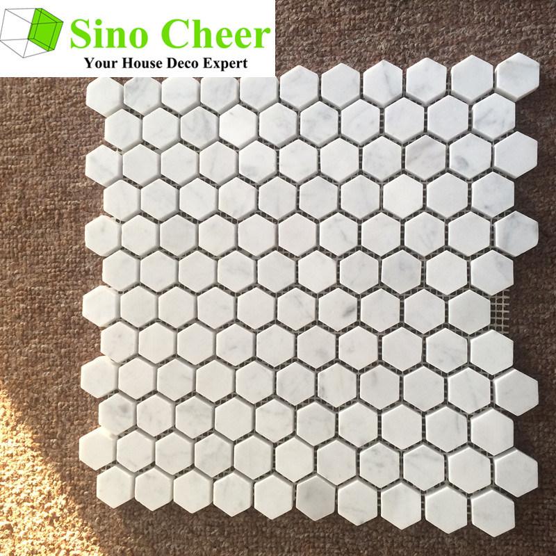 Modern Design Carrara White Marble Honed Hexagon Mosaic Tile