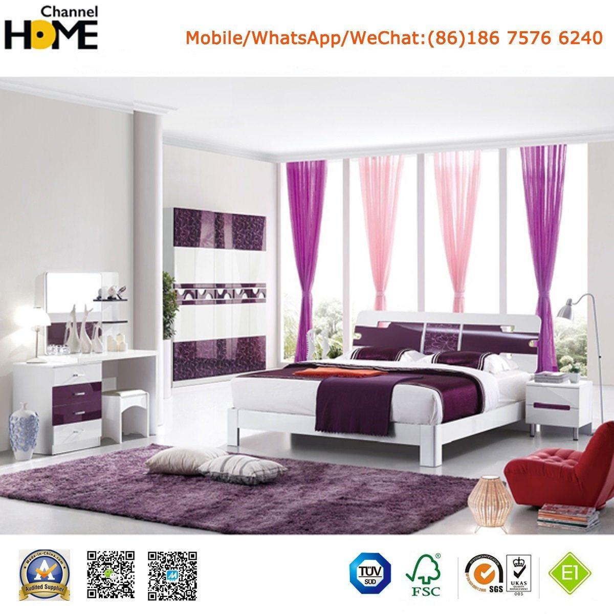 New Elegant Design High Gloss Lacquered Modern Bedroom Set (HC217B)