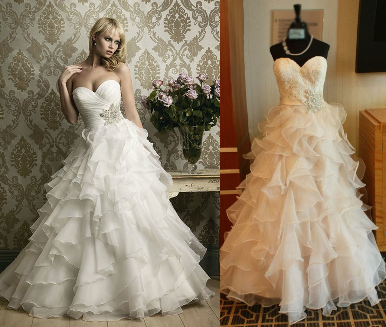 Ruffles Bottom Sweetheart Wedding Dress with Belt