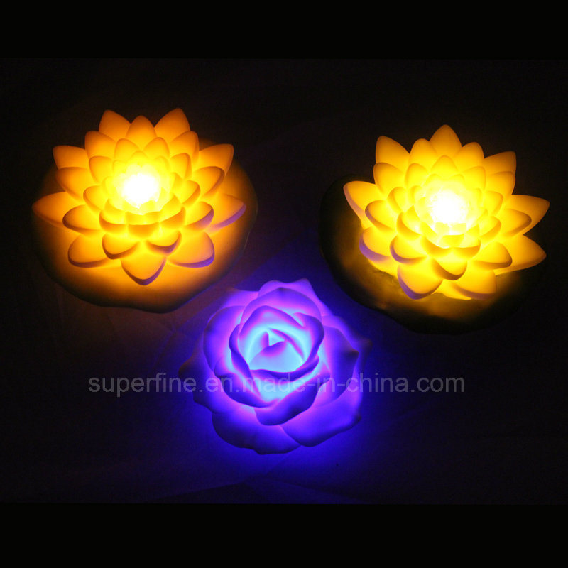 Cute Floating Artificial Battery Operated Plastic LED Peony Flowers for Children