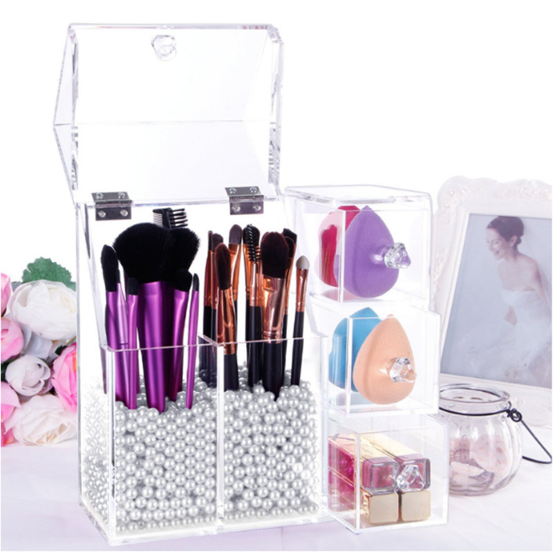 Modern Acrylic Brush Holder with Flip Lid