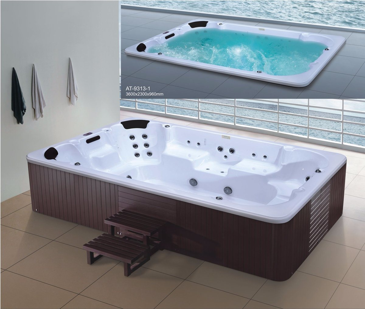 3600mm Free Standing Outdoor SPA for 11 Persons (AT-9313)