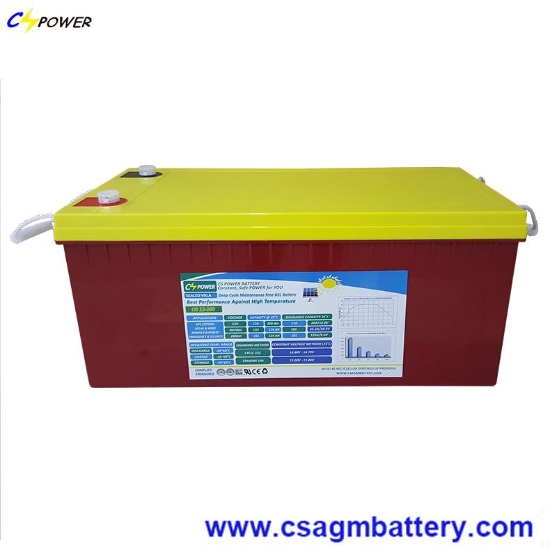 Long Lasting Solar Gel Battery 12V200ah with IEC Ce UL Approve