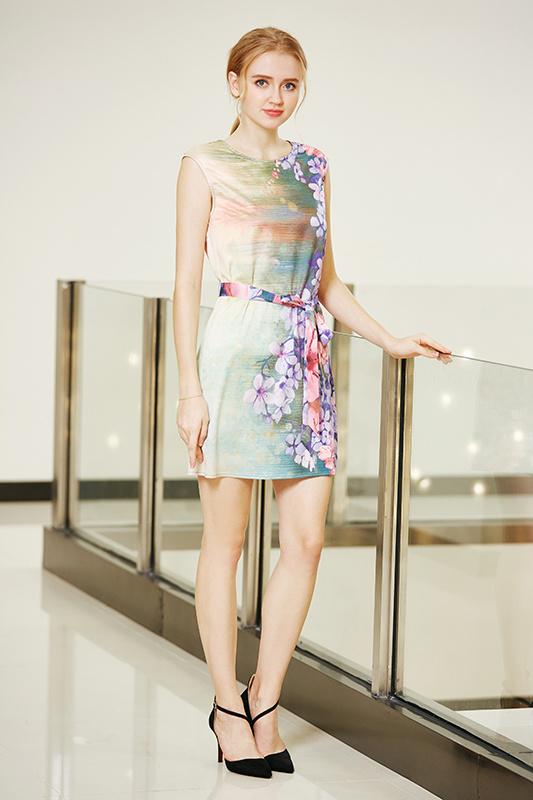 Tie Front Drop Shoulder Shift Satin Dress with Digital Placement Floral Print