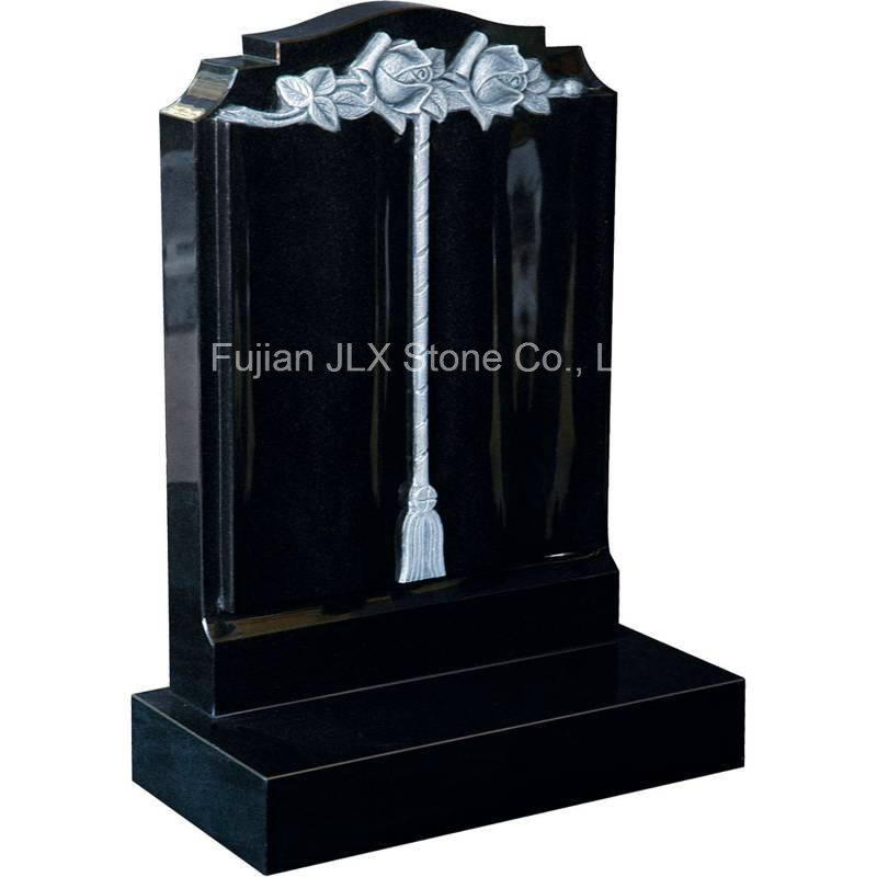China Black Granite Antique Scroll Book Gravestones with Roses