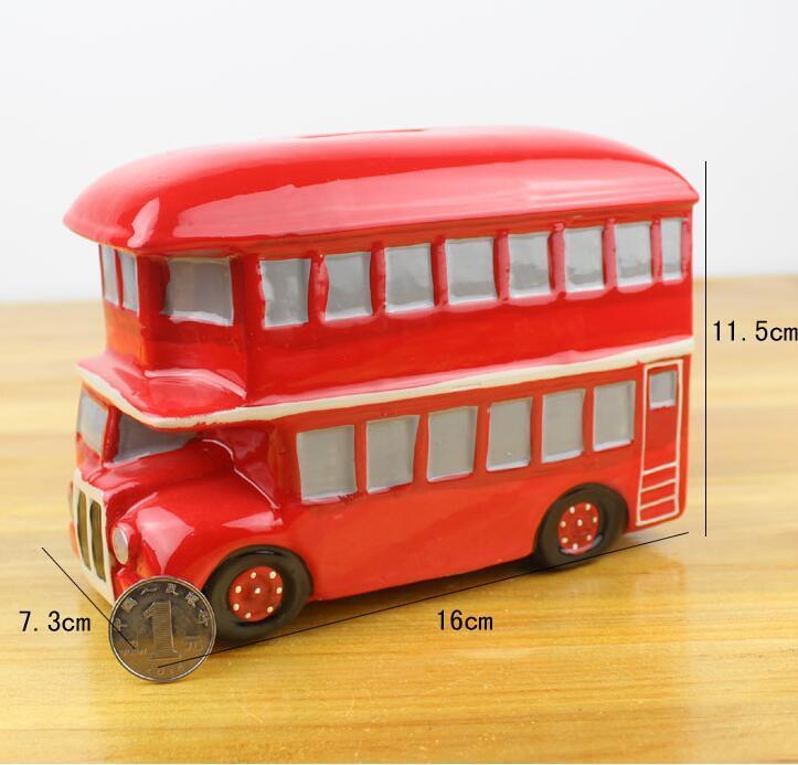 Creative Bus Shaped Ceramic Money Box Coin Bank