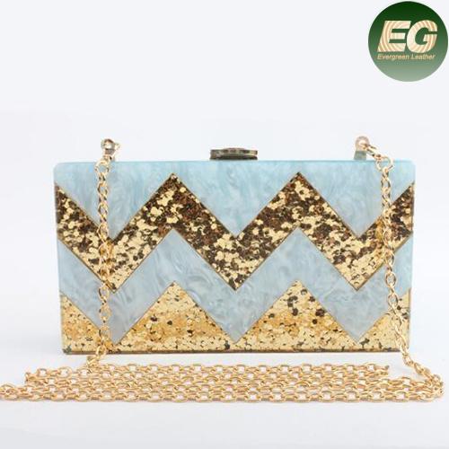 Stylish Acrylic Box Clutch Bag Shining Evening Bags for Women Bridal Party Eb850