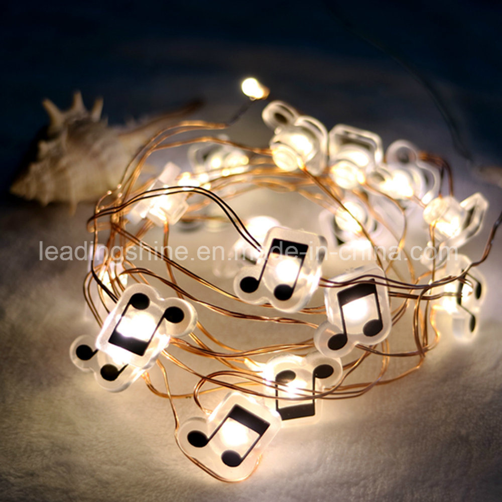 Warm White Music Note Battery Operated Wholesale Shenzhen Factory Silver Wire Customized Fairy Light Set