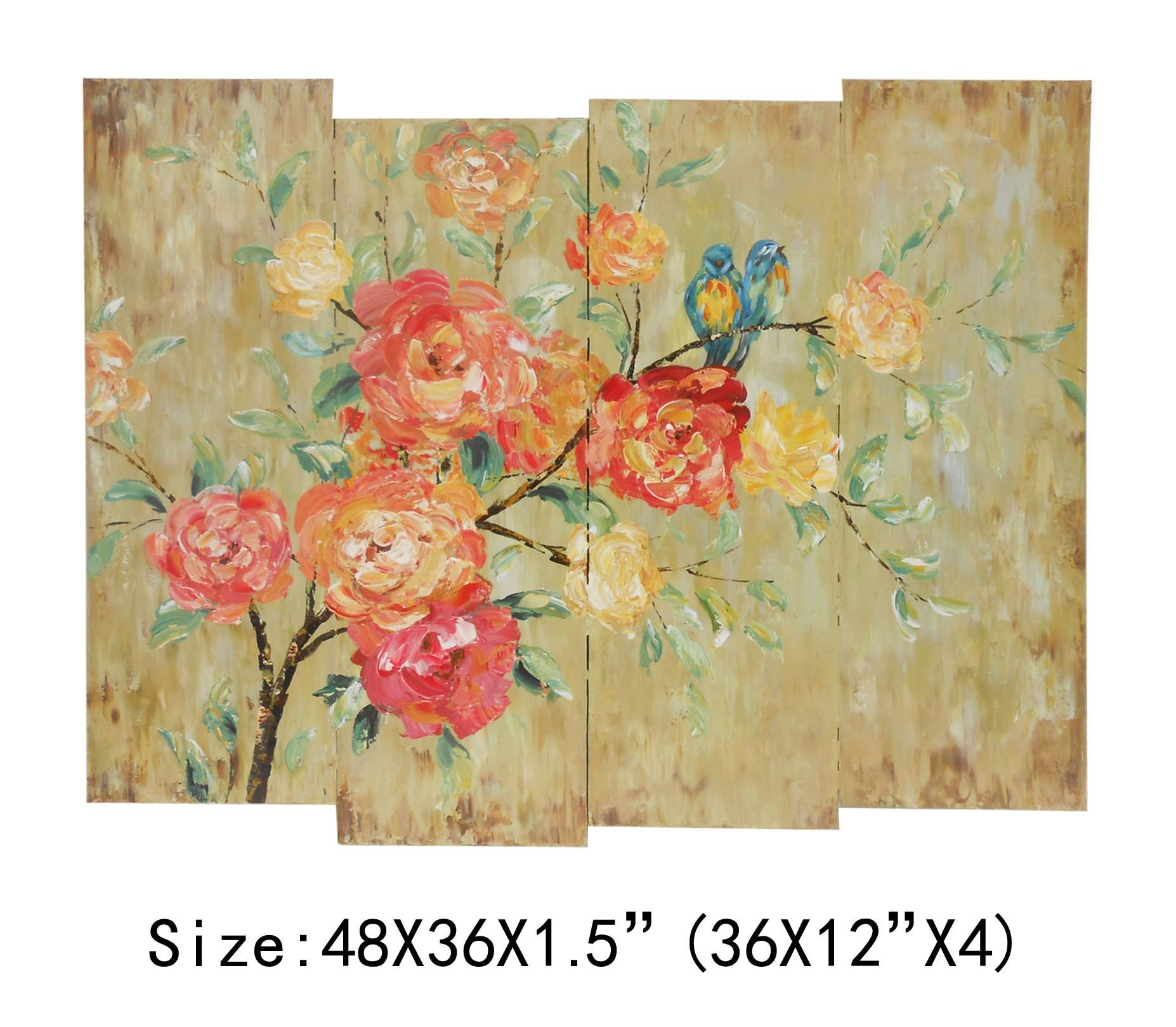 Hand-Painted 4PCS Wall Art Rose Oil Painting on Canvas