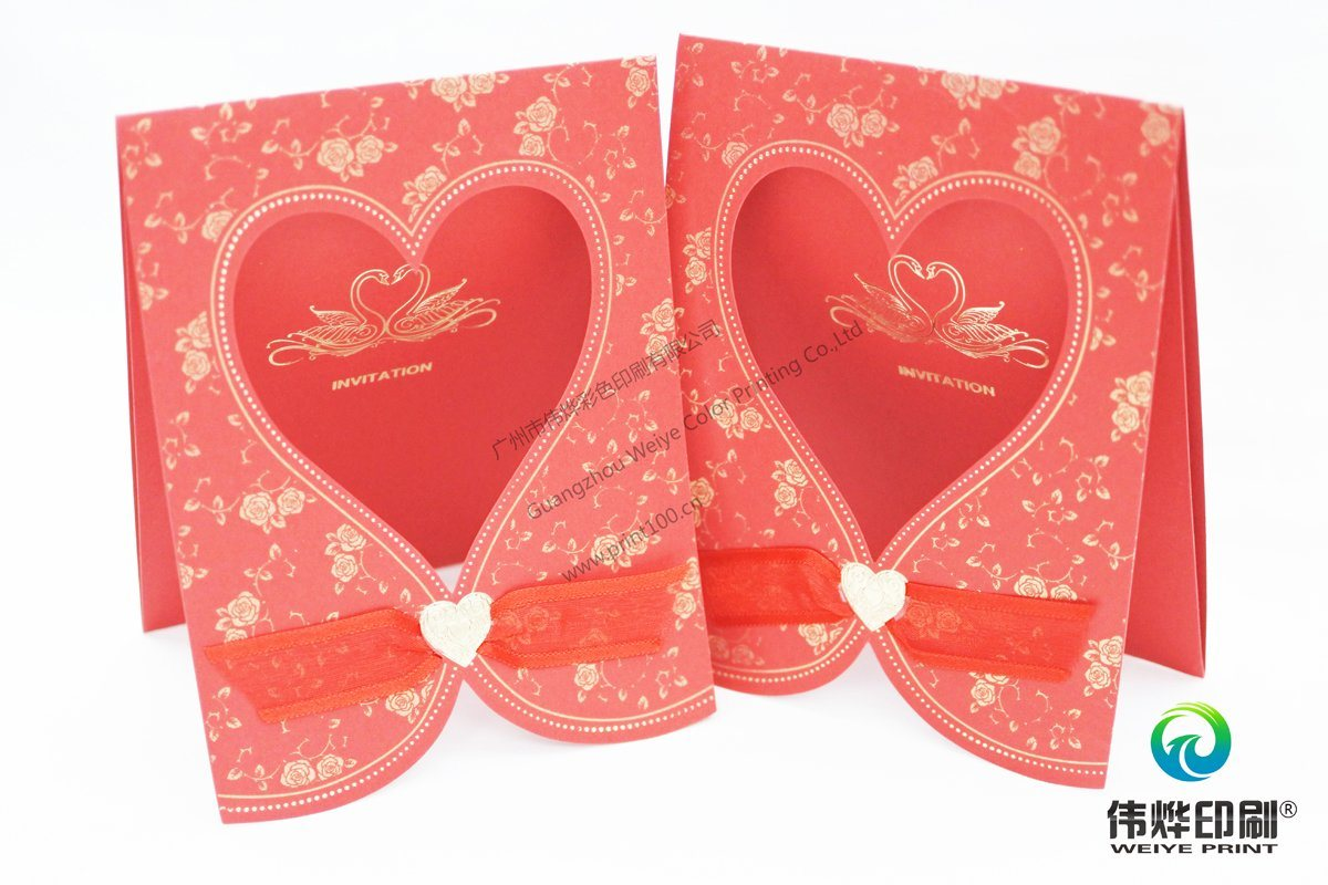 Gold Stamping Paper Printing Wedding Card with Embossing Heart