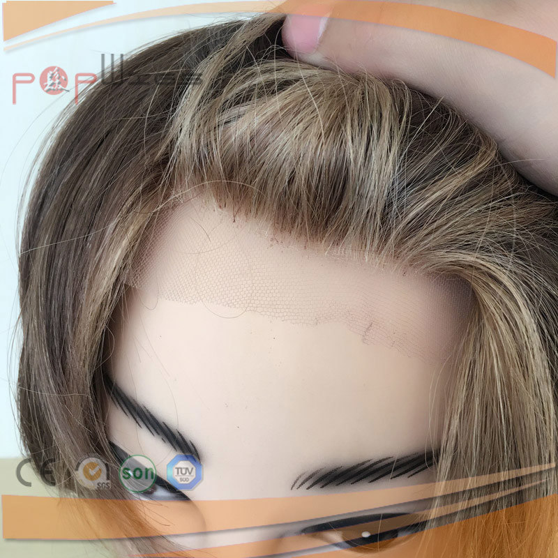 Human Hair Full Poly Coated Mens Hair Piece System, Toupee