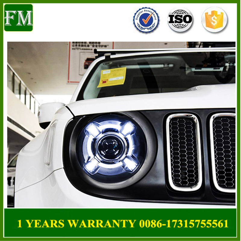 LED Headlamp with Xenon Projector Lens for Jeep Renegade