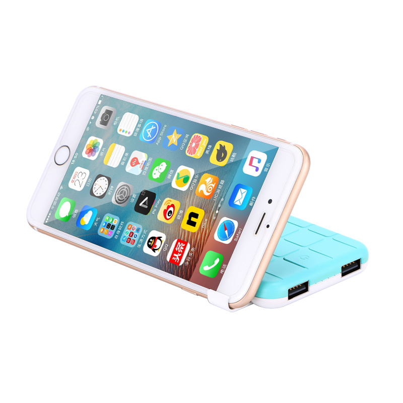 New Design 6000mAh Portable Mobile Power Bank with Mobile Phone Support