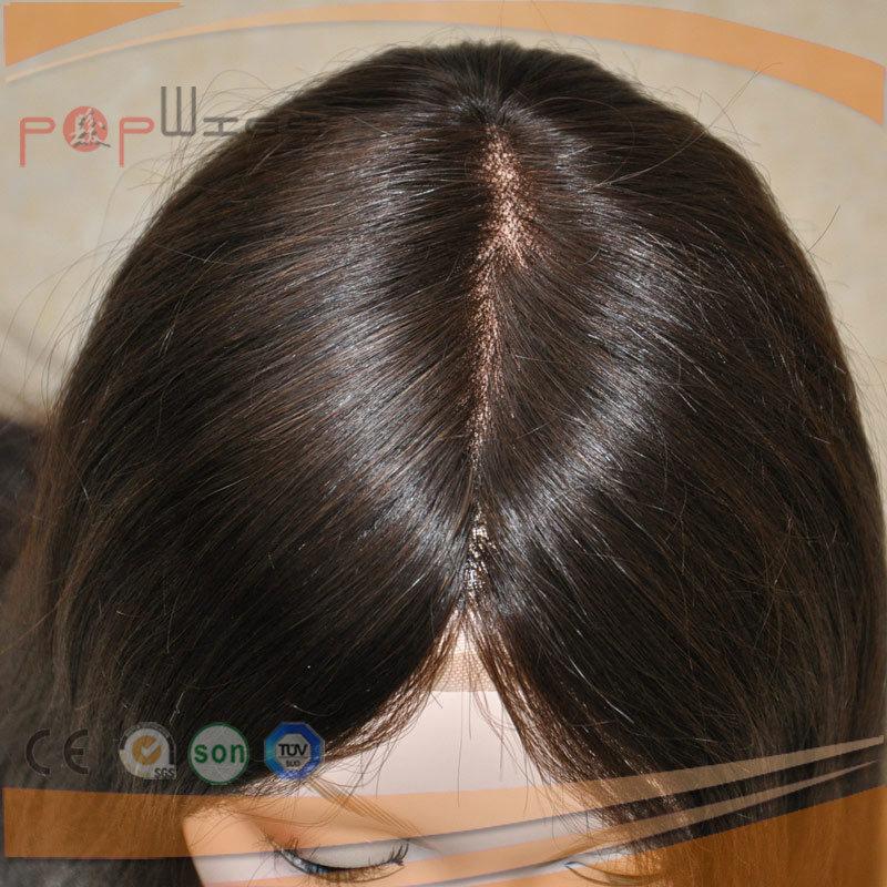 Long Full Human Hair Medical Cap Density PU Custom Lace Front Women Wig