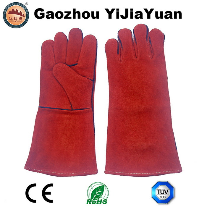Cow Split Leather Welding Gloves From Gaozhou Factory, China with Ce Approval