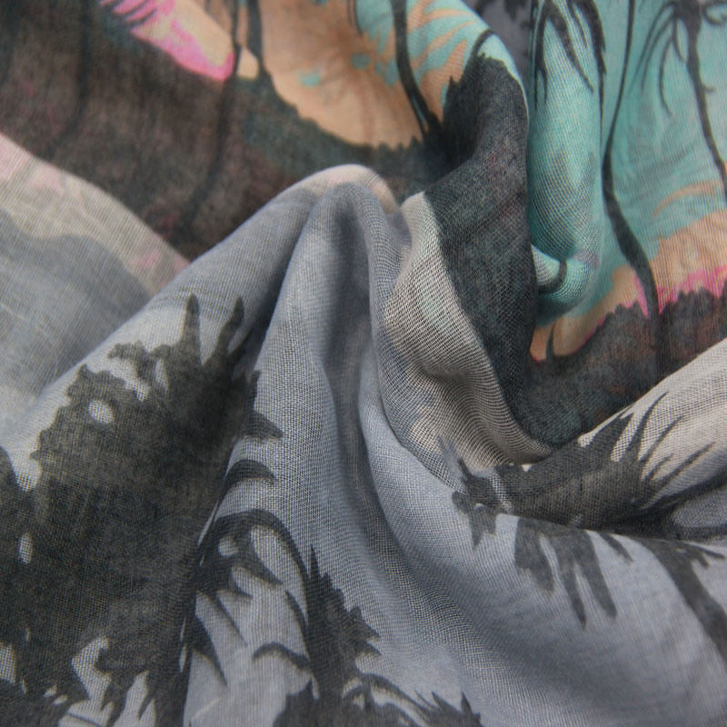 Printing Coconut Tree Scarf for Women Fashion Accessory Spring Shawls