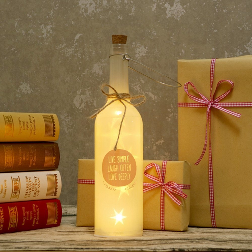 Happy Life Starlight Bottle Birthday LED Amber Love Gift Idea