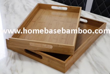 Bamboo Tea Food Coffee Fruit Serving Tray Tableware Storage Organizers Hb402