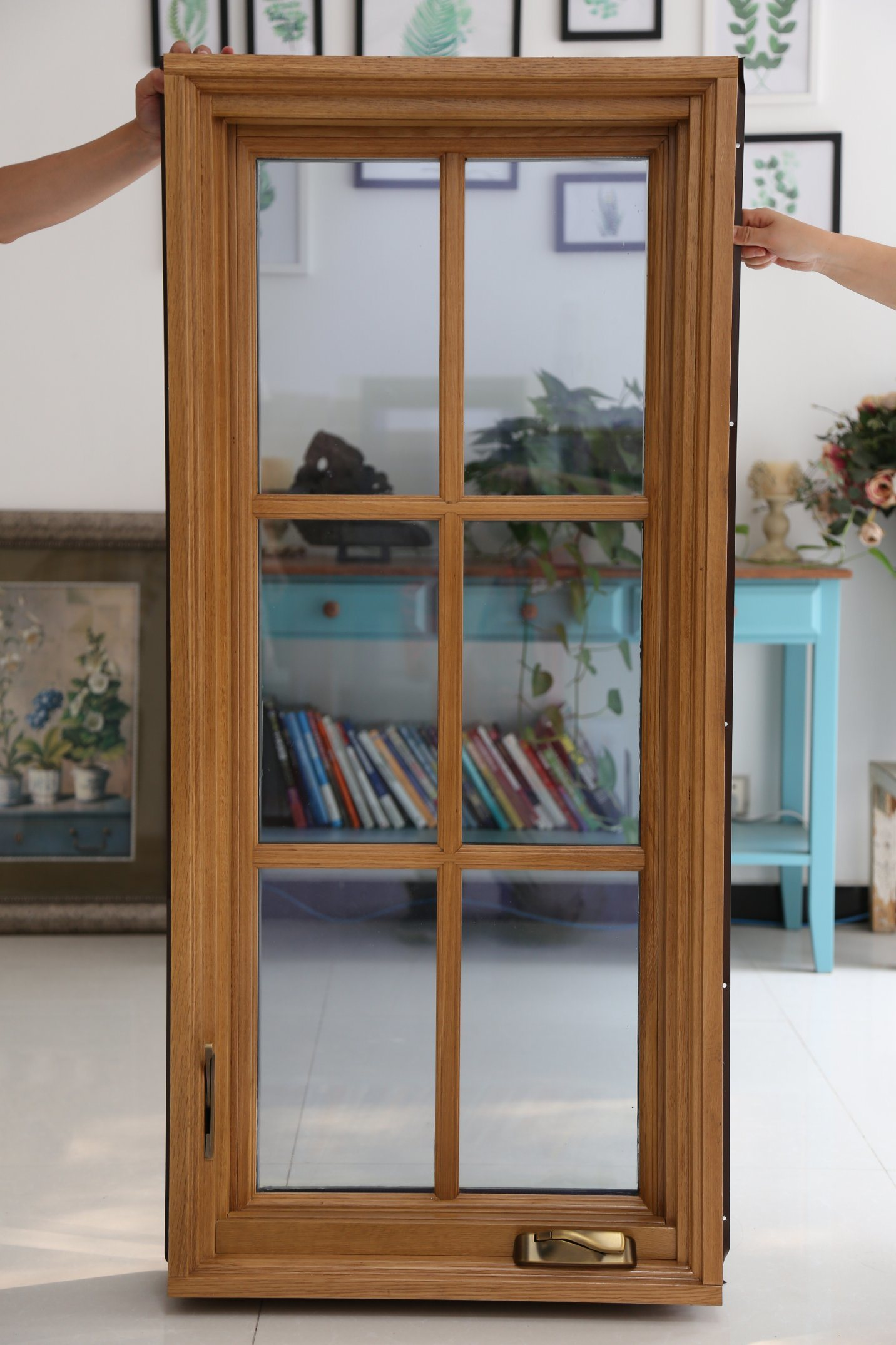 America Style Casement Wood Aluminum Window with Crank Operator