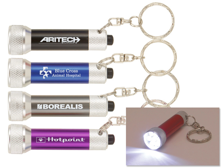Metal White Light Keychain Lights for Company Promotion Gifts