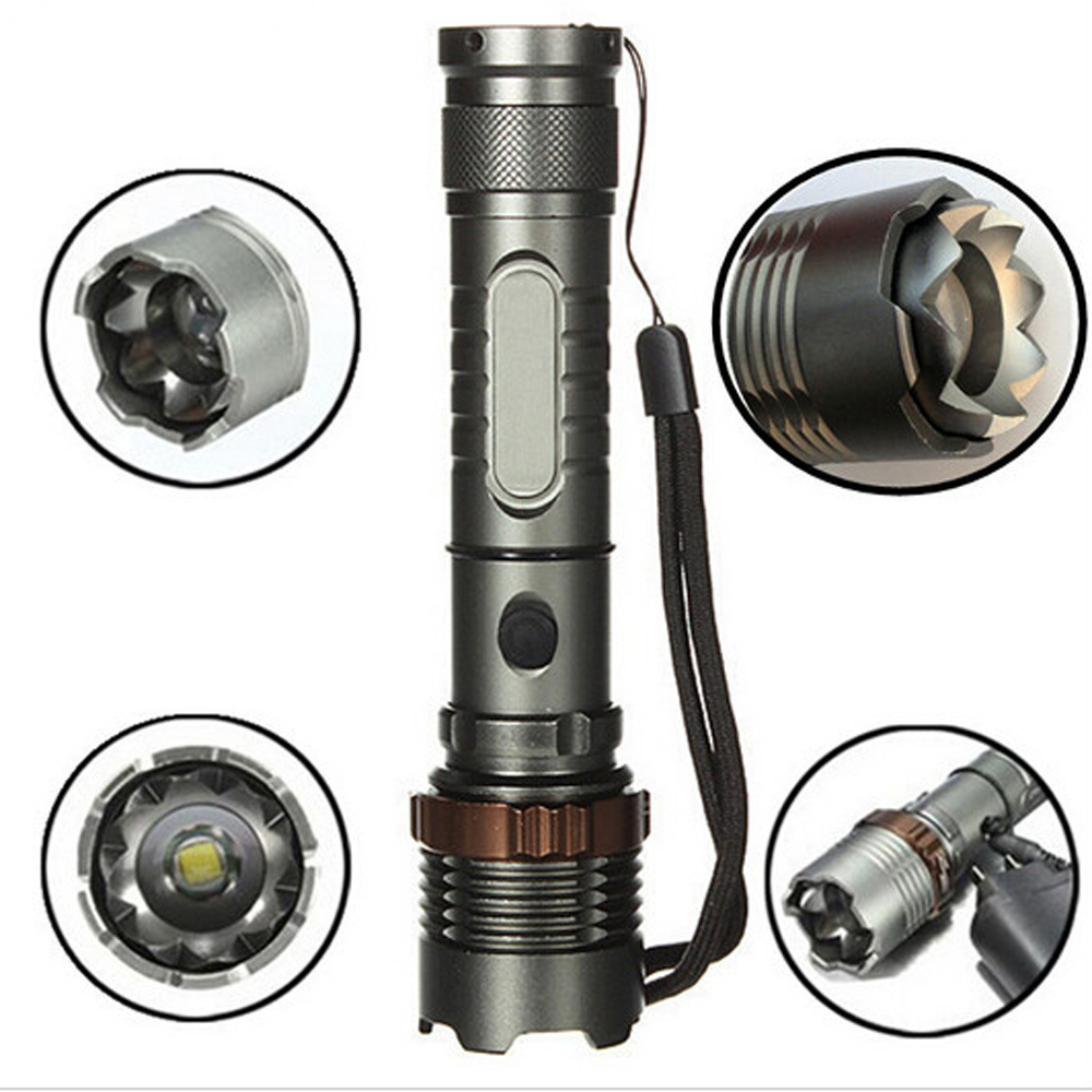 Whole Set CREE LED T6 Flashlight Zoomable 5 Modes Tactical Attack Head Self Defense Torch