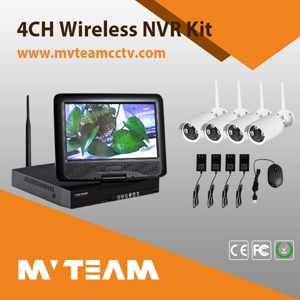 Wireless Waterproof IP Camera NVR Kit 4CH P2p CCTV DVR WiFi (MVT-K04T)