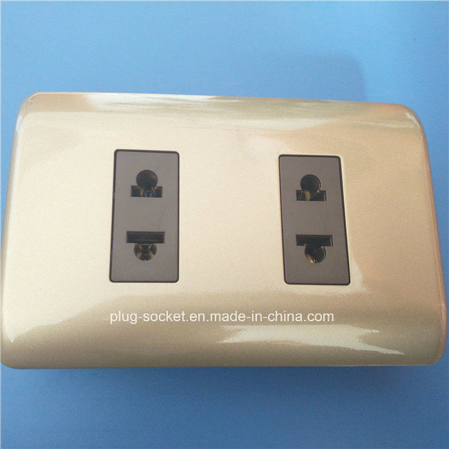 South America ABS Copper Material Gray Color Wall Switch and Socket (W-092)