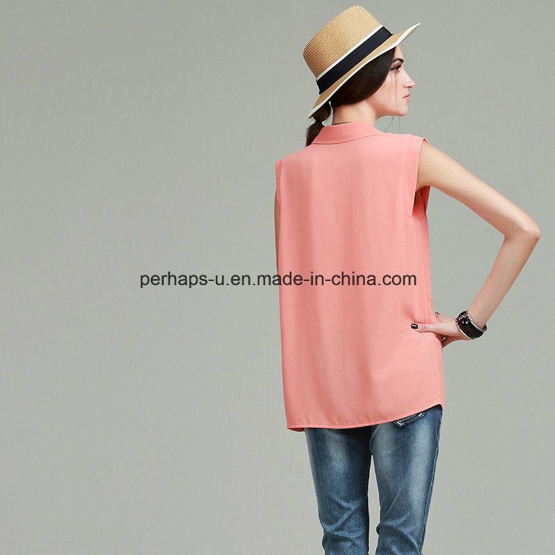 Fashion Pure Color Ladies Shirt Fashion Sleeveless Blouse Women Clothes