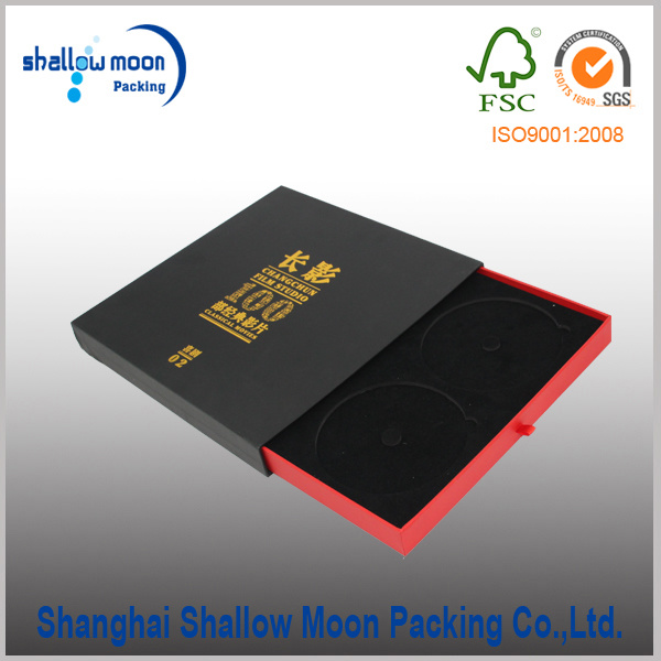 Customized Foil Black Paper CD Box Packaging (QYCI15224)
