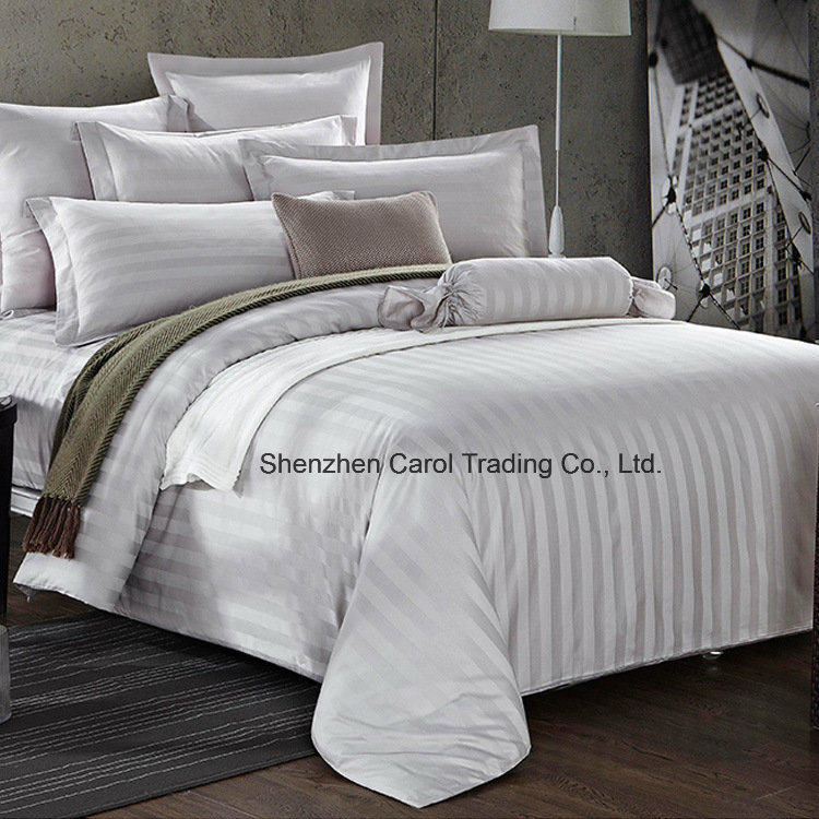100% Cotton Bleached White Striped Luxury Hotel Bedding Set