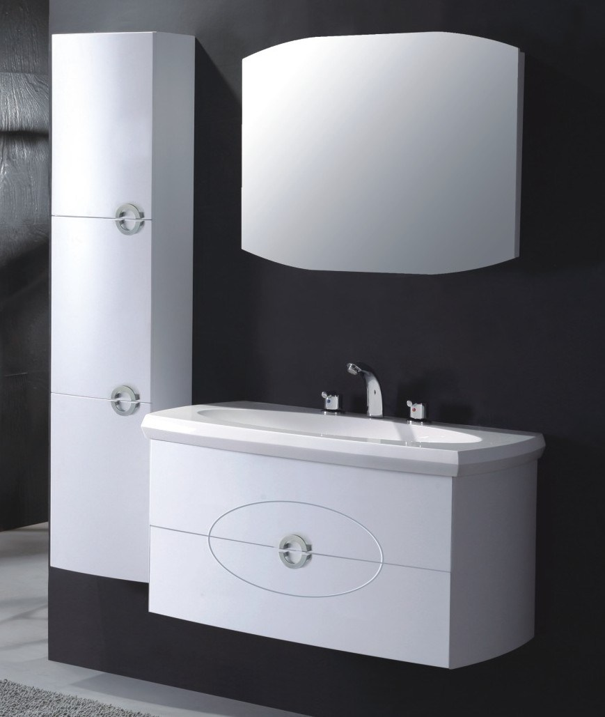 China Modern Single Sink Wall Mounted PVC Bathroom Cabinet Vanity Photos &amp...