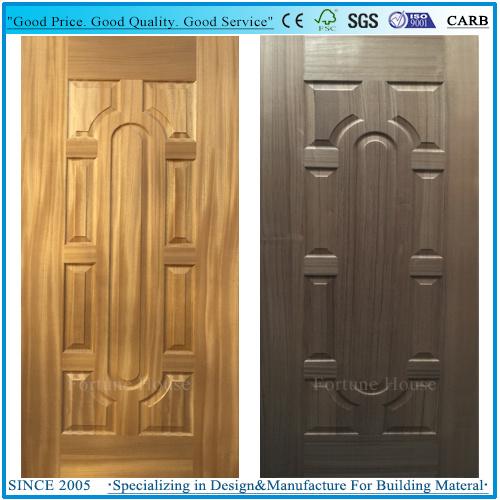 Coloration Teak/Natural Thailand Teak Wood Veneer Moulded HDF Door Skins