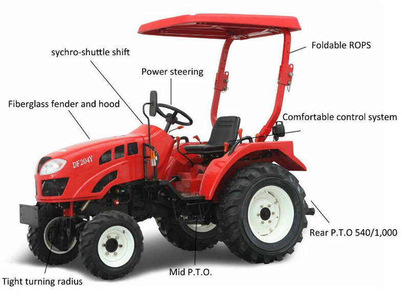 2015 Hot Sale 40HP 4WD Garden Tractor Driven by 4 Cylinders Engine Fitted with Rotary Tiller/Plough/Front Loader